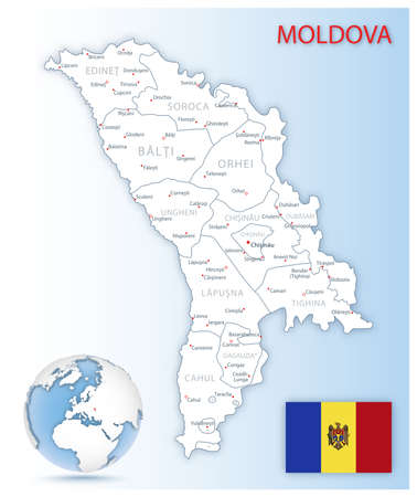 Detailed Moldova administrative map with country flag and location on a blue globe. Vector illustration 矢量图像