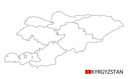 Kyrgyzstan map, black and white detailed outline regions of the country. Vector illustration