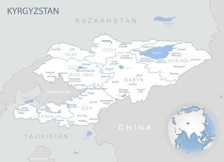 Blue-gray detailed map of Kyrgyzstan administrative divisions and location on the globe. Vector illustration 矢量图像