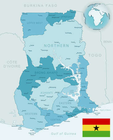 Blue-green detailed map of Ghana administrative divisions with country flag and location on the globe. Vector illustration