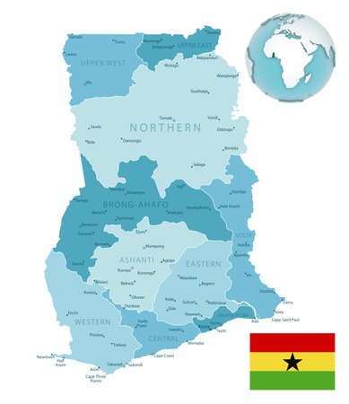 Ghana administrative blue-green map with country flag and location on a globe. Vector illustration