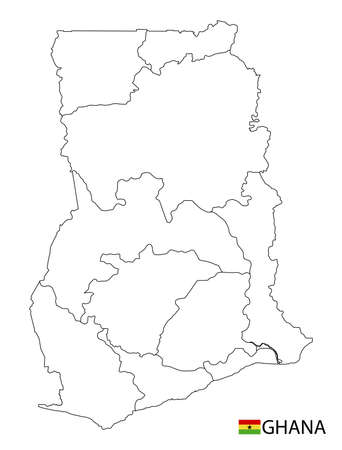 Ghana map, black and white detailed outline regions of the country. Vector illustration 矢量图像