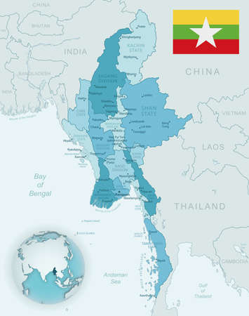 Blue-green detailed map of Myanmar administrative divisions with country flag and location on the globe. Vector illustration