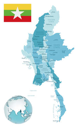 Myanmar administrative blue-green map with country flag and location on a globe. Vector illustration
