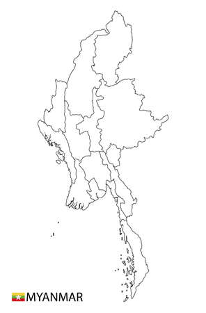 Myanmar map, black and white detailed outline regions of the country. Vector illustration 일러스트