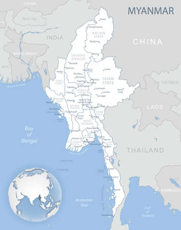 Blue-gray detailed map of Myanmar administrative divisions and location on the globe. Vector illustration