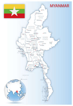 Detailed Myanmar administrative map with country flag and location on a blue globe. Vector illustration