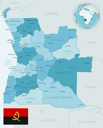 Blue-green detailed map of Angola administrative divisions with country flag and location on the globe. Vector illustration 矢量图像