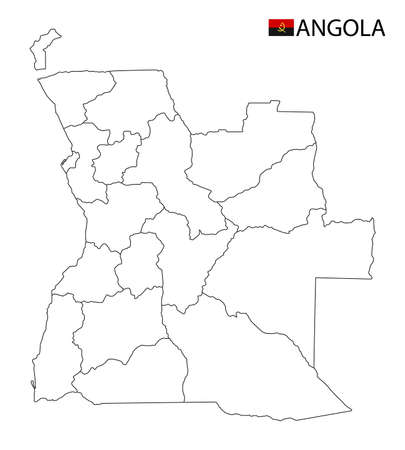 Angola map, black and white detailed outline regions of the country. Vector illustration