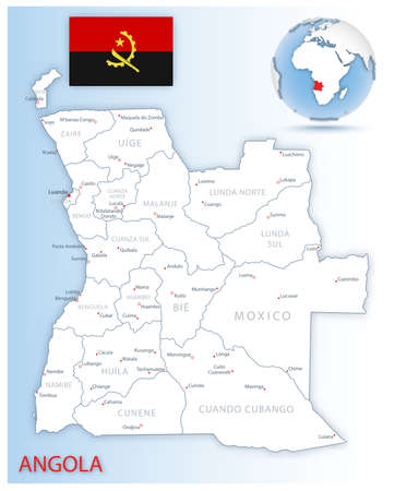 Detailed Angola administrative map with country flag and location on a blue globe. Vector illustration 矢量图像