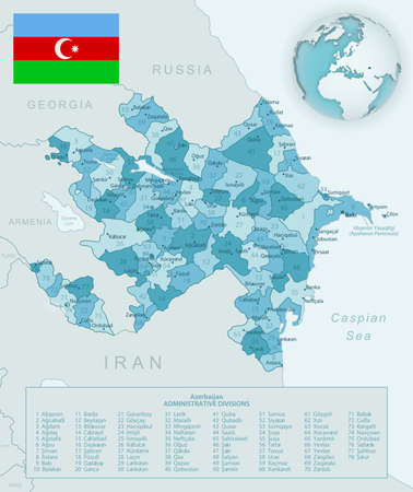 Blue-green detailed map of Azerbaijan administrative divisions with country flag and location on the globe. Vector illustration 矢量图像