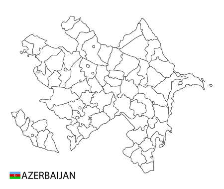 Azerbaijan map, black and white detailed outline regions of the country. Vector illustration