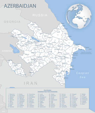 Blue-gray detailed map of Azerbaijan administrative divisions and location on the globe. Vector illustration