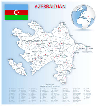 Detailed Azerbaijan administrative map with country flag and location on a blue globe. Vector illustration