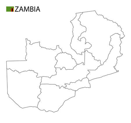Zambia map, black and white detailed outline regions of the country. Vector illustration