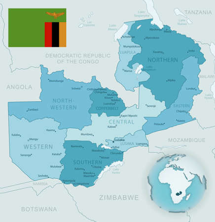 Blue-green detailed map of Zambia administrative divisions with country flag and location on the globe. Vector illustration