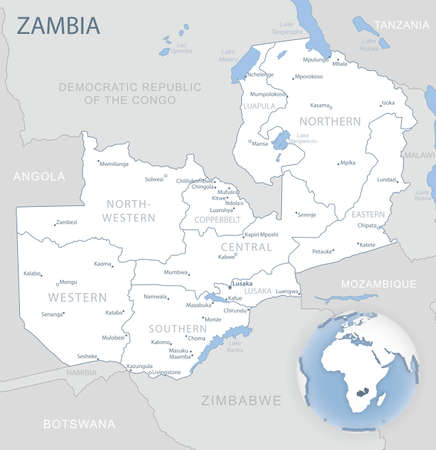Blue-gray detailed map of Zambia administrative divisions and location on the globe. Vector illustration 免版税图像 - 157946197