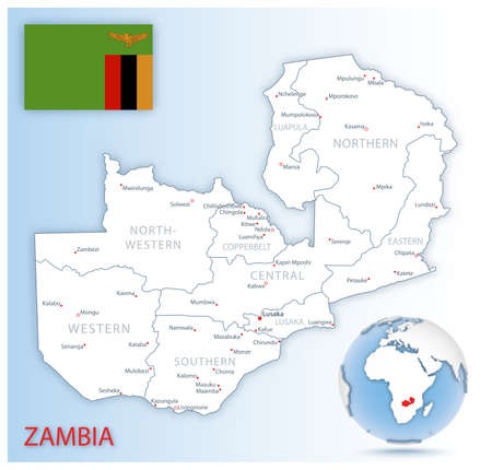 Detailed Zambia administrative map with country flag and location on a blue globe. Vector illustration 矢量图像