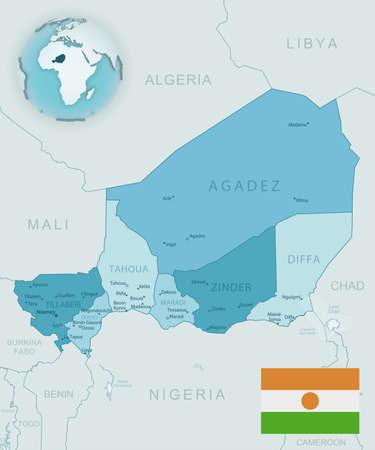 Blue-green detailed map of Niger administrative divisions with country flag and location on the globe. Vector illustration