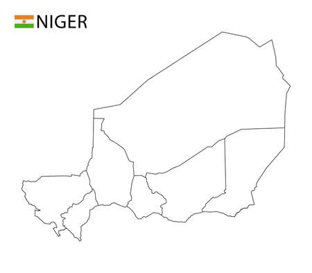 Niger map, black and white detailed outline regions of the country. Vector illustration 免版税图像 - 157946200