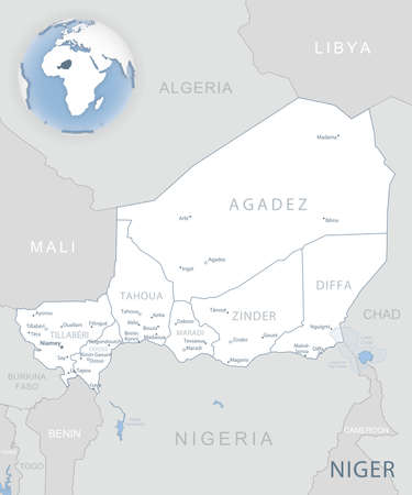 Blue-gray detailed map of Niger administrative divisions and location on the globe. Vector illustration 免版税图像 - 157946202
