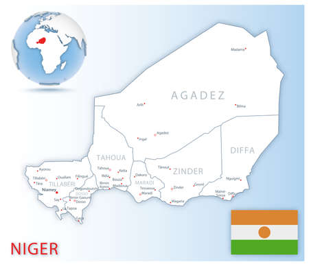 Detailed Niger administrative map with country flag and location on a blue globe. Vector illustration 免版税图像 - 157946203