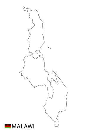Malawi map, black and white detailed outline regions of the country. Vector illustration