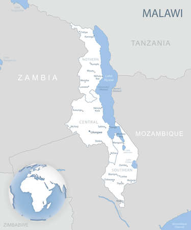 Blue-gray detailed map of Malawi administrative divisions and location on the globe. Vector illustration