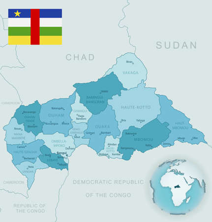 Blue-green detailed map of Central African Republic administrative divisions with country flag and location on the globe. Vector illustration