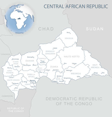 Blue-gray detailed map of Central African Republic administrative divisions and location on the globe. Vector illustration 矢量图像