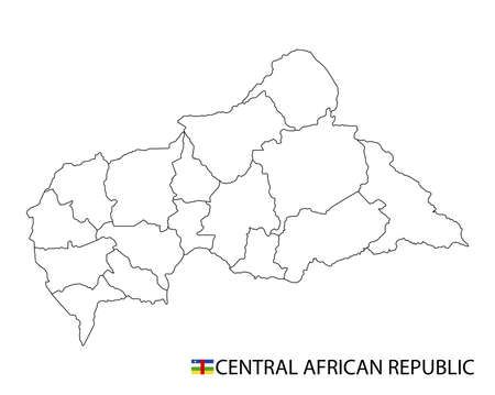 Central African Republic map, black and white detailed outline regions of the country. Vector illustration 免版税图像 - 157946212