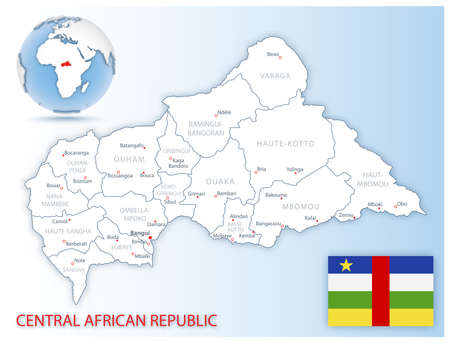 Detailed Central African Republic administrative map with country flag and location on a blue globe. Vector illustration 矢量图像