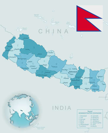 Blue-green detailed map of Nepal administrative divisions with country flag and location on the globe. Vector illustration 矢量图像