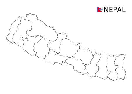 Nepal map, black and white detailed outline regions of the country. Vector illustration