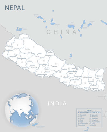 Blue-gray detailed map of Nepal administrative divisions and location on the globe. Vector illustration