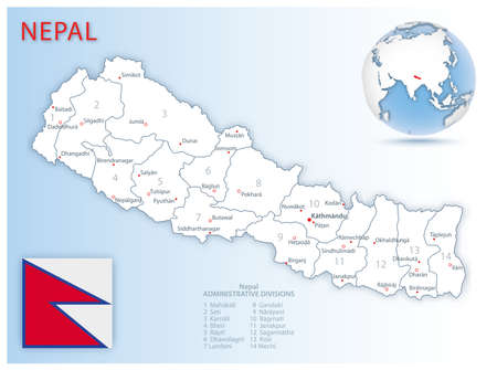 Detailed Nepal administrative map with country flag and location on a blue globe. Vector illustration 免版税图像 - 157946274