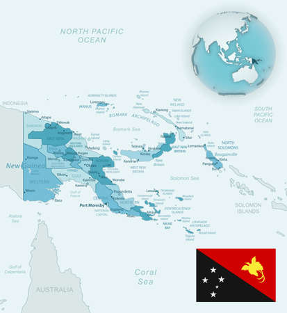 Blue-green detailed map of Papua New Guinea administrative divisions with country flag and location on the globe. Vector illustration