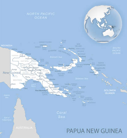 Blue-gray detailed map of Papua New Guinea administrative divisions and location on the globe. Vector illustration 矢量图像