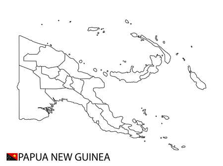 Papua New Guinea map, black and white detailed outline regions of the country. Vector illustration 免版税图像 - 157946281
