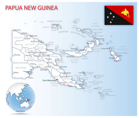 Detailed Papua New Guinea administrative map with country flag and location on a blue globe. Vector illustration