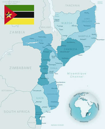Blue-green detailed map of Mozambique administrative divisions with country flag and location on the globe. Vector illustration 矢量图像