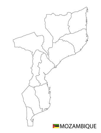 Mozambique map, black and white detailed outline regions of the country. Vector illustration 免版税图像 - 157946288