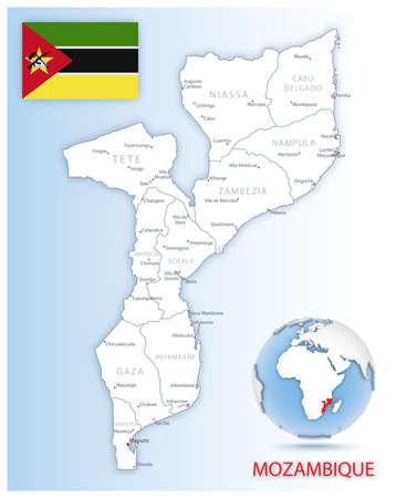 Detailed Mozambique administrative map with country flag and location on a blue globe. Vector illustration