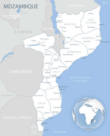 Blue-gray detailed map of Mozambique administrative divisions and location on the globe. Vector illustration 矢量图像