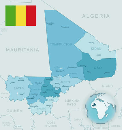 Blue-green detailed map of Mali administrative divisions with country flag and location on the globe. Vector illustration 免版税图像 - 157946293