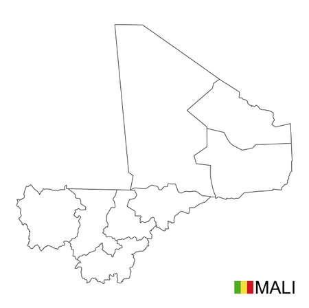 Mali map, black and white detailed outline regions of the country. Vector illustration