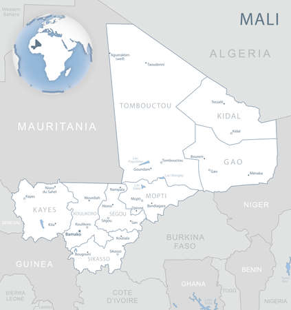 Blue-gray detailed map of Mali administrative divisions and location on the globe. Vector illustration