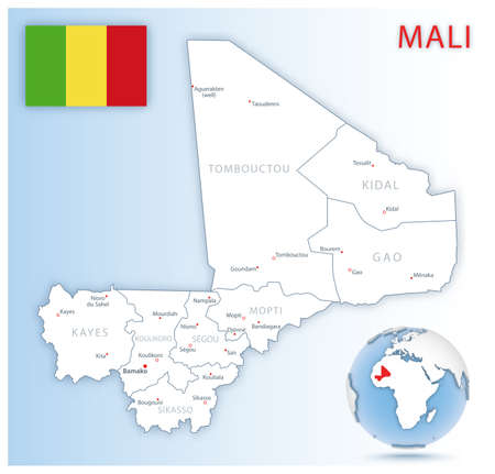 Detailed Mali administrative map with country flag and location on a blue globe. Vector illustration 免版税图像 - 157946374