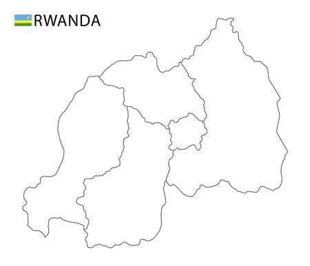 Rwanda map, black and white detailed outline regions of the country. Vector illustration 矢量图像