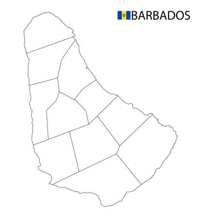 Barbados map, black and white detailed outline regions of the country. Vector illustration